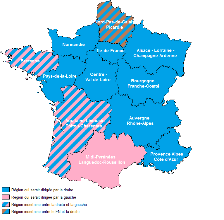 Carte projection régions